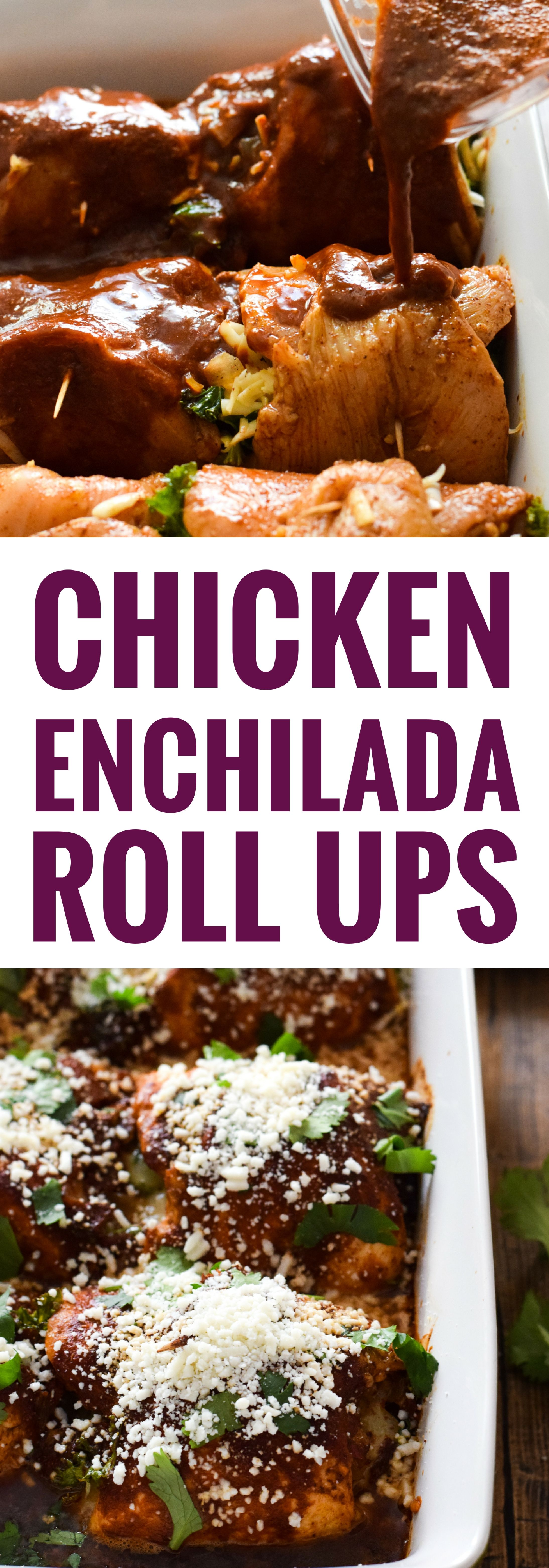 Make your life a little tastier with these cheesy Chicken Enchilada Roll Ups covered in an authentic red enchilada sauce. (low carb, gluten free) via @isabeleats