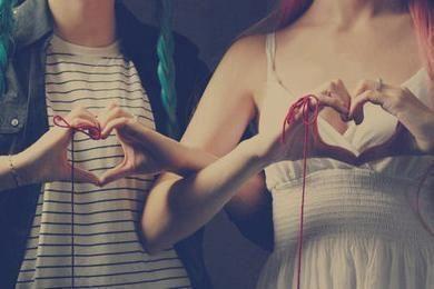Women with heart hands