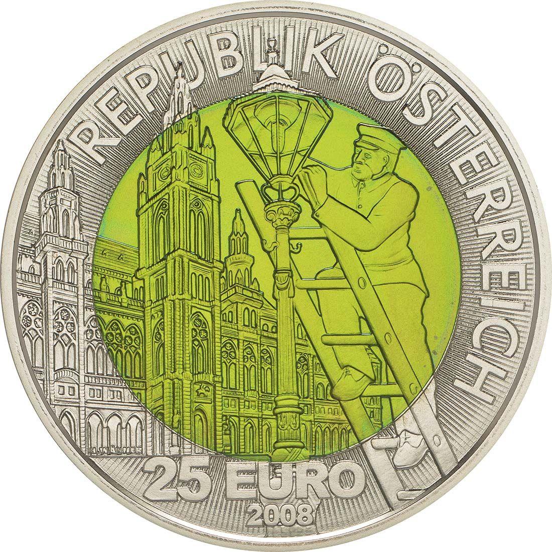 Ruckseite Osterreich 25 Euro Faszination Licht 2008 Stgl