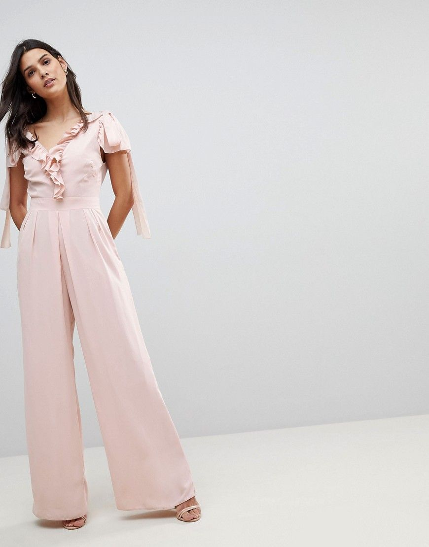 c4e56ef48fd9 ASOS Jumpsuit with Soft Ruffle Detail - Brown