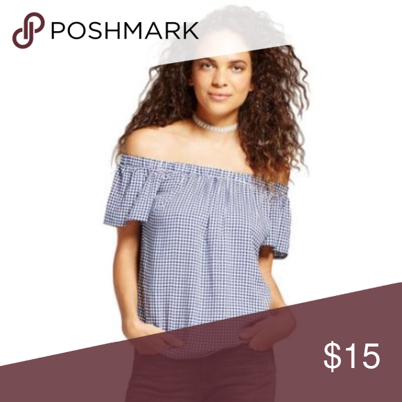 3056673aab7571 Gingham Off the Shoulder Top Navy Gingham Pattern Size xs NWT never worn.  Not Brandy Melville just used for exposure. Actually Mossimo Brandy  Melville Tops