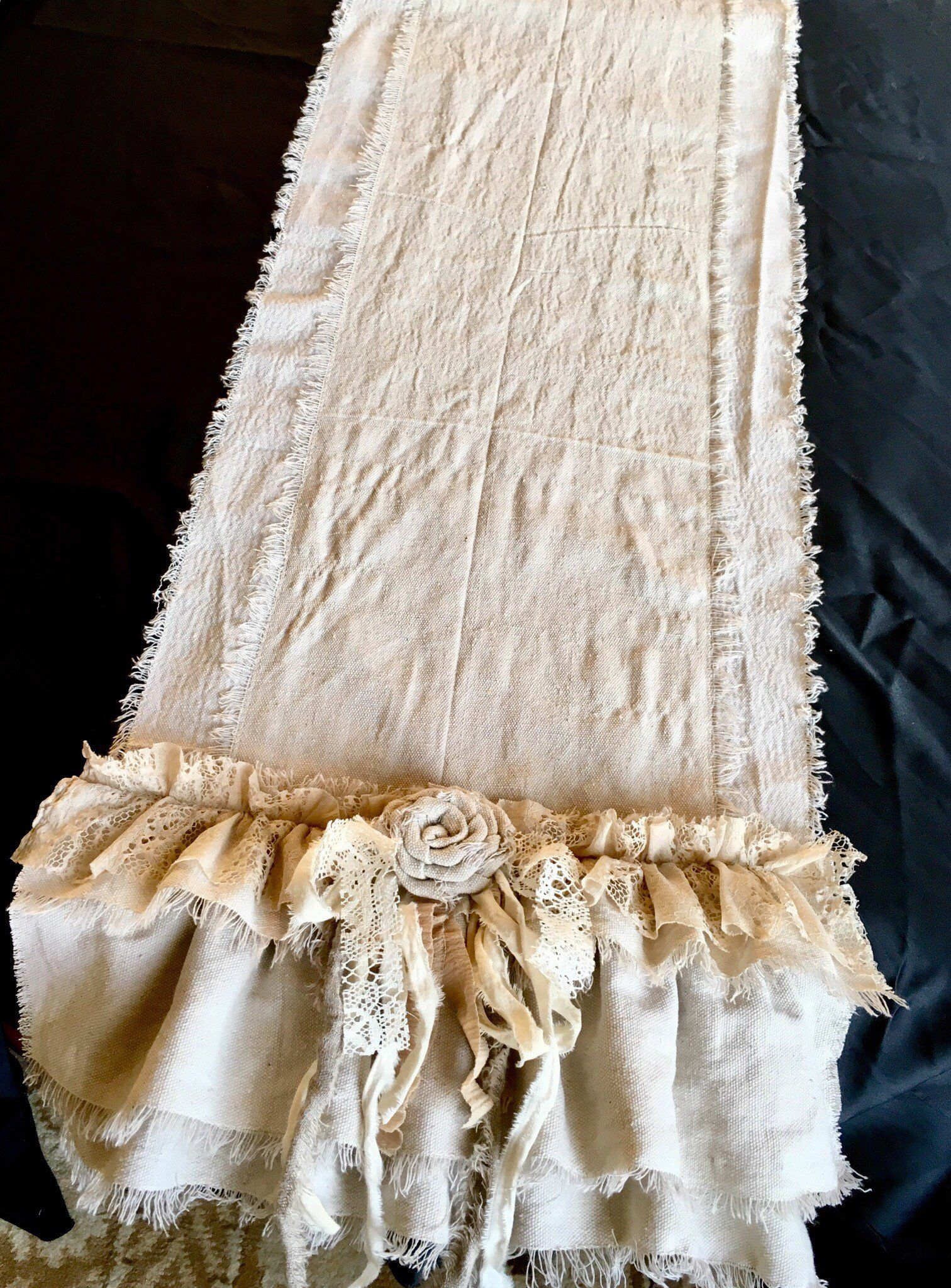 Custom Table Runner or Dresser runner multi ruffle ivory linen cotton canvas lace Handmade French Country Farmhouse dining room table design