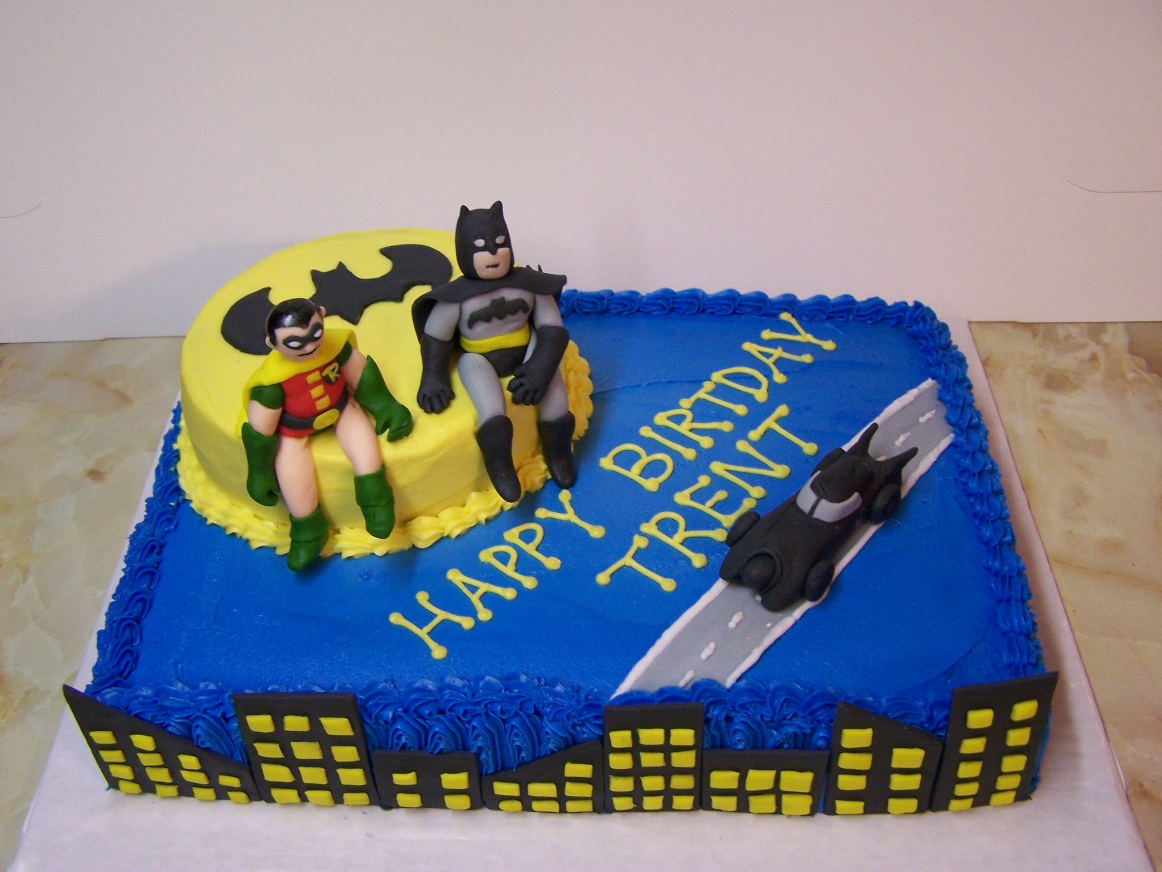 Batman Robin This cake is buttercream with fondant accents Of