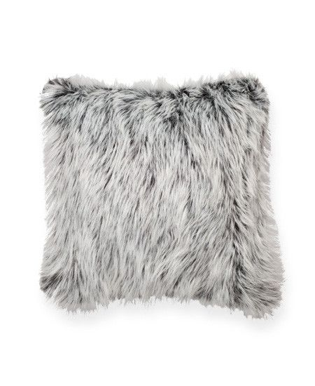 black white furry throw pillow
