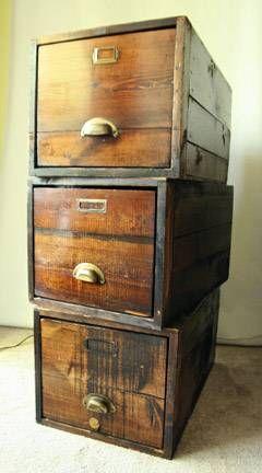 Beau Vintage Solid Oak Filing Cabinet Drawer Crates