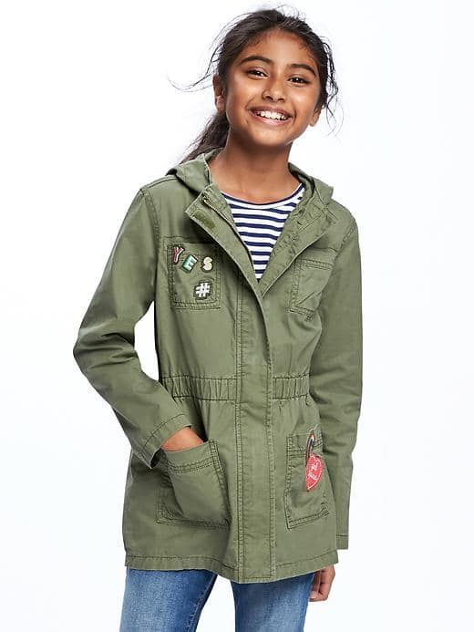16e7d5aeec7dc Old Navy Hooded Utility Jacket For Girls Size L - I think olive by: Old  Navy Price: $39.94