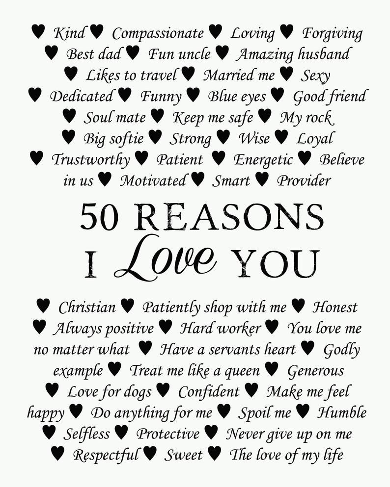50 Reasons why we love you, 50th Birthday Present, 30th, 40th, 50th, 60th, 70th, 80th, 90th, Custom Birthday Gift, Anniversary gift