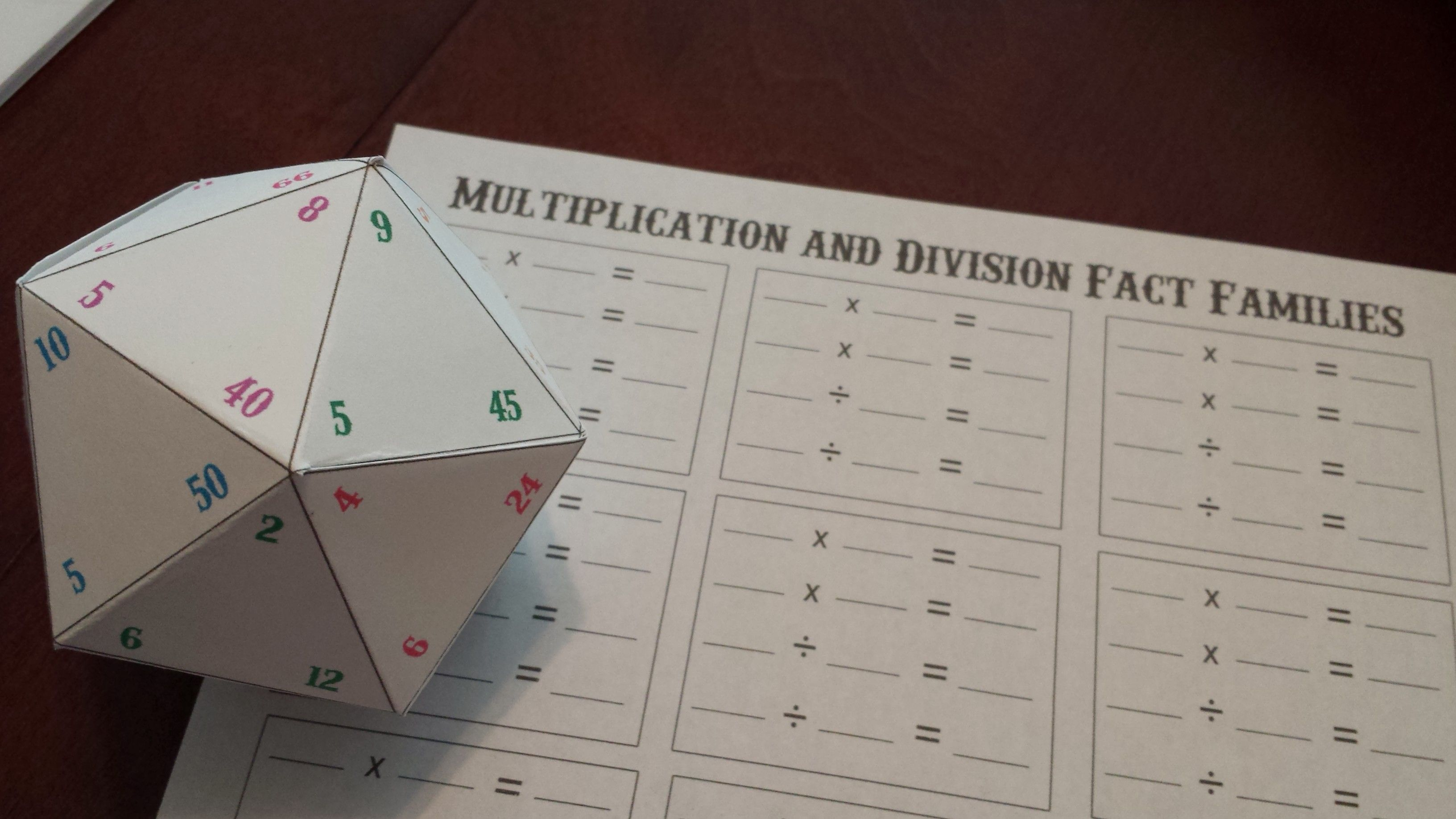 Multiplication And Division Fact Family Game