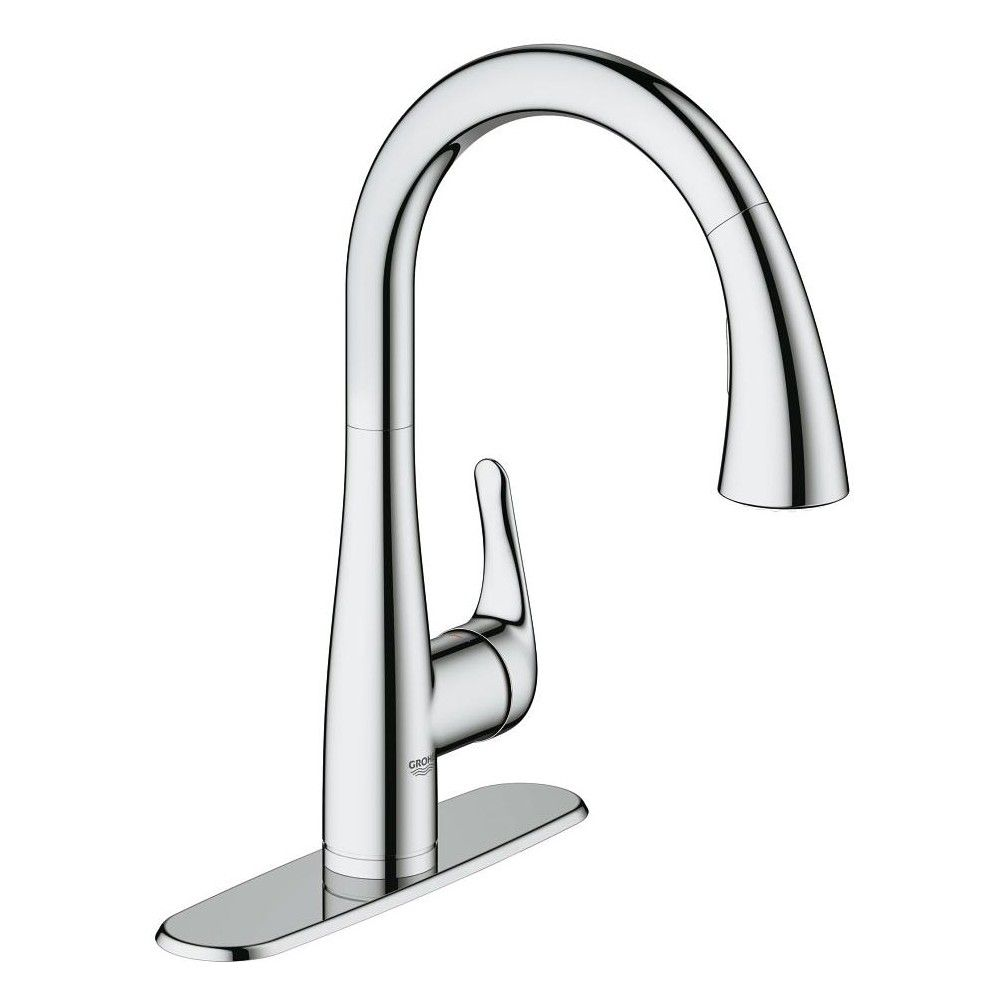 Grohe America Inc 30 211 1 Elberon Single Handle Single Hole Pull Down Kitchen Faucet With Silkmove Cartridge Kitchen Faucet Chrome Kitchen Faucet Grohe Kitchen Faucet