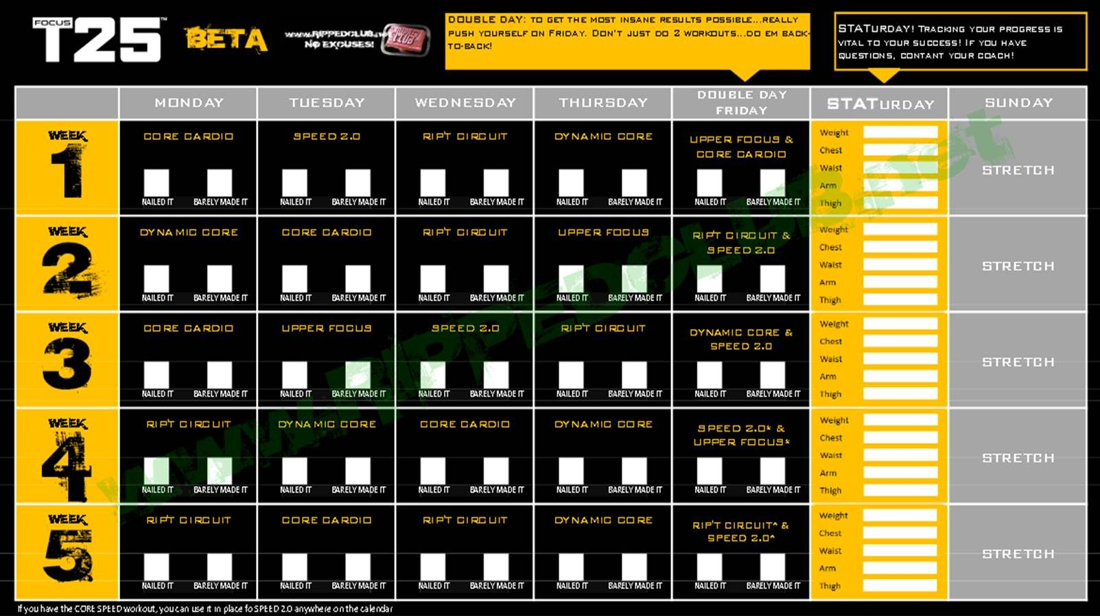 Adaptable image for t25 schedule printable