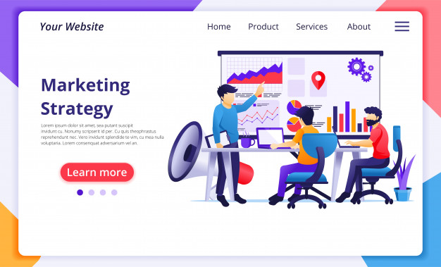 Marketing Strategy Concept Business People On Meeting And Presentation For New Campaign Sales Promotion Website Landing Page Template Marketing Strategy Landing Page Marketing