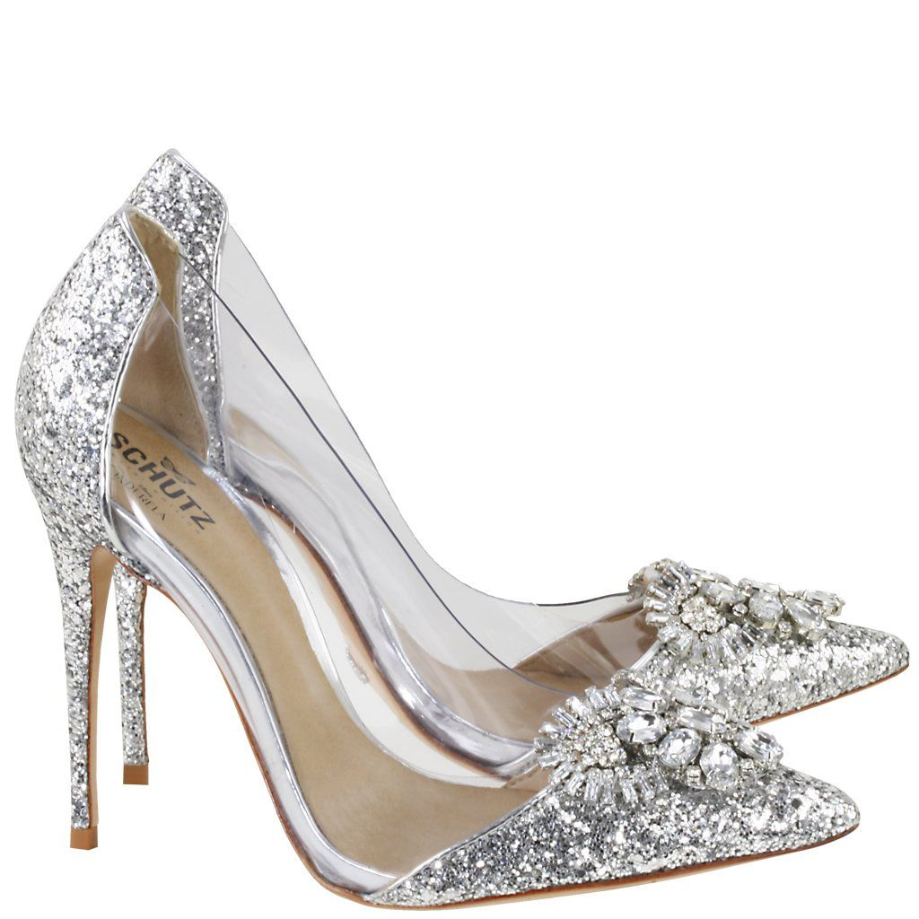 72a284ea42e Acquarelashop - A primeira boutique online de sapatos do Brasil - Scarpin  Salto Alto Especial Edition Cinderela Schutz Prata