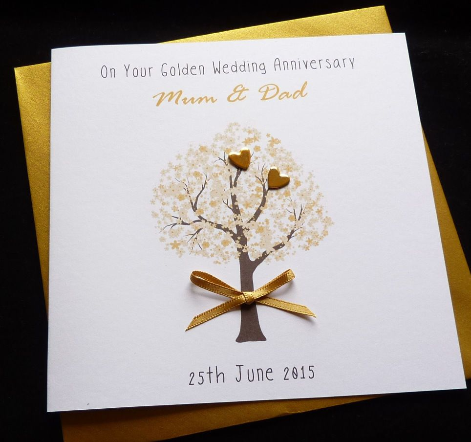 golden wedding invitations%0A  Personalised handmade golden     th  wedding  anniversary    wedding card   View