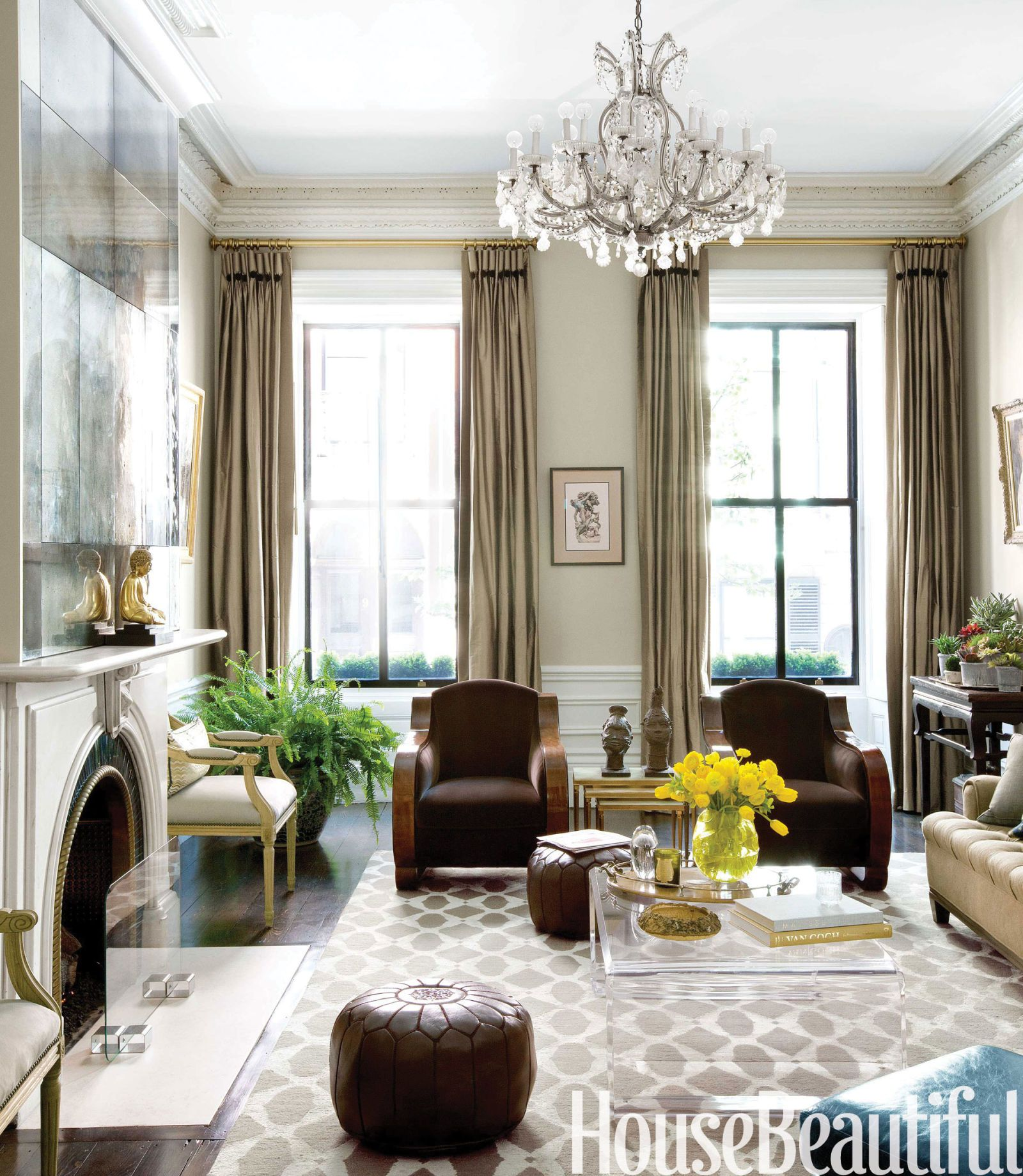 living room ideas with leather furniture%0A A Proper Boston Brownstone with Sparkle