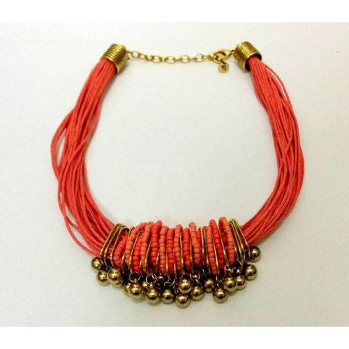 Bright peach colored necklace - Necklaces by Simaya Fashion
