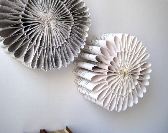 paper sculpture round folded book paper sculpture origami book sculpture recycled book. Black Bedroom Furniture Sets. Home Design Ideas