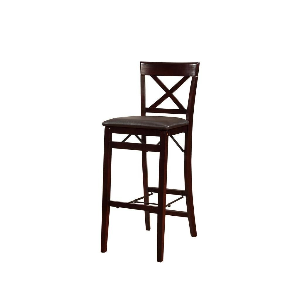 Outstanding Linon Home Decor Triena 30 In Espresso X Back Folding Bar Ncnpc Chair Design For Home Ncnpcorg