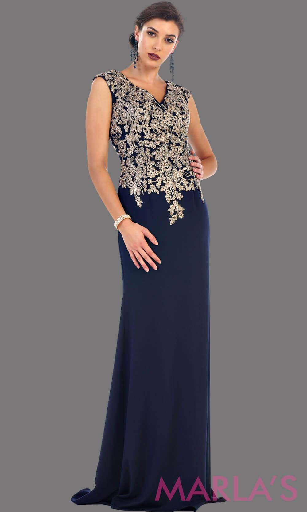 80e1cf21ac0 Long navy party dress with gold lace. This is a beautiful plus size dress  that is perfect as a modest dress