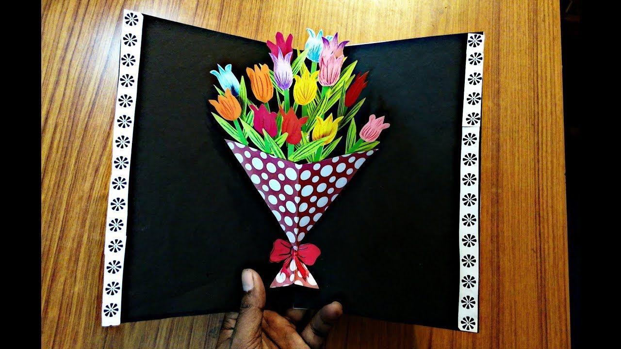 Diy Flower Bouquet Pop Up Card Paper Crafts Handmade Craft Mother S Day Diy Pop Up Cards Pop Up Flower Cards Diy Crafts Vases