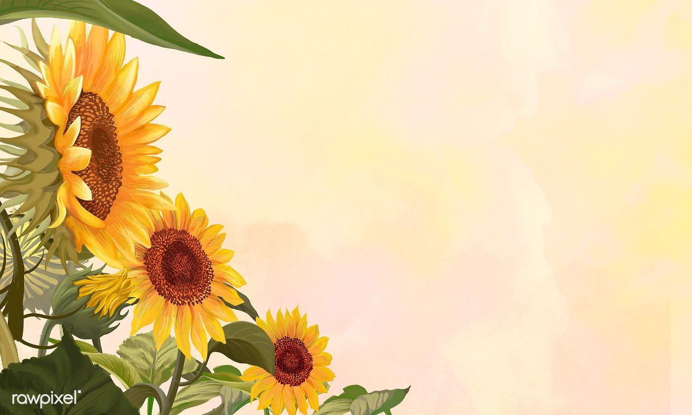 Download Premium Illustration Of Hand Drawn Sunflowers On A Yellow Sunflower Illustration Sunflower Wallpaper Sunflower Drawing