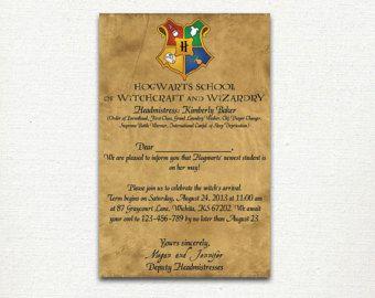 Harry Potter Hogwarts Letter Baby Shower Invitation Digital