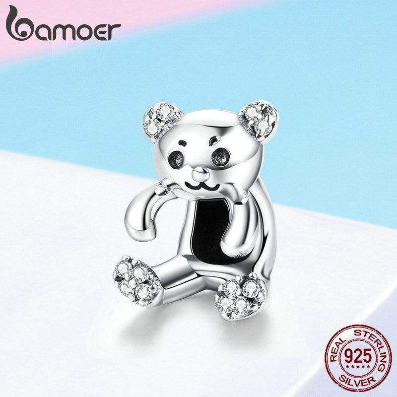 262437a0ca188 BAMOER Authentic 925 Sterling Silver Little Bear Pendant Clear CZ ...