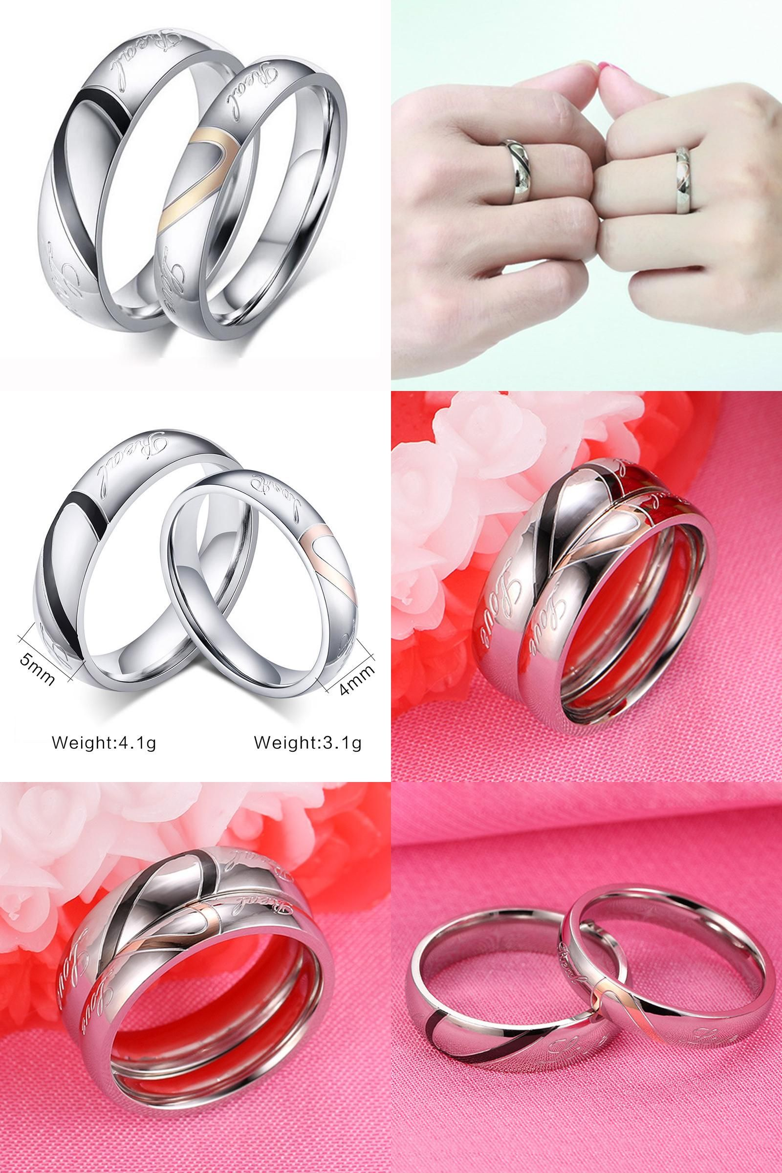 Visit to Buy] Factory Price Silver Color Couple Ring Quality ...
