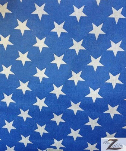 "STAR PRINT POLYCOTTON PRINT FABRIC - Blue/White - 59"" WIDTH SOLD BTY Big Z Fabric"