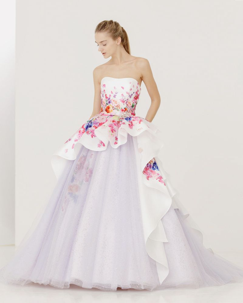 Flower print wedding gown  Blooming Trend  Dreamy Wedding Dresses With Romantic Floral Print