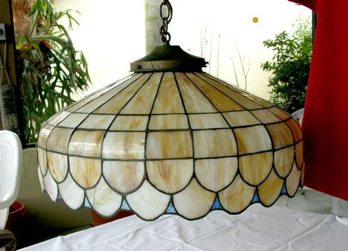 Vintage Antique Stained Slag Glass Hanging Lamp Brass Cap   EBay