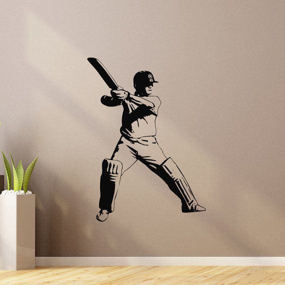 Sports Wall Decal Vinyl Sticker Cricket Bat Ball Sport Wall Decals - Sporting wall decals