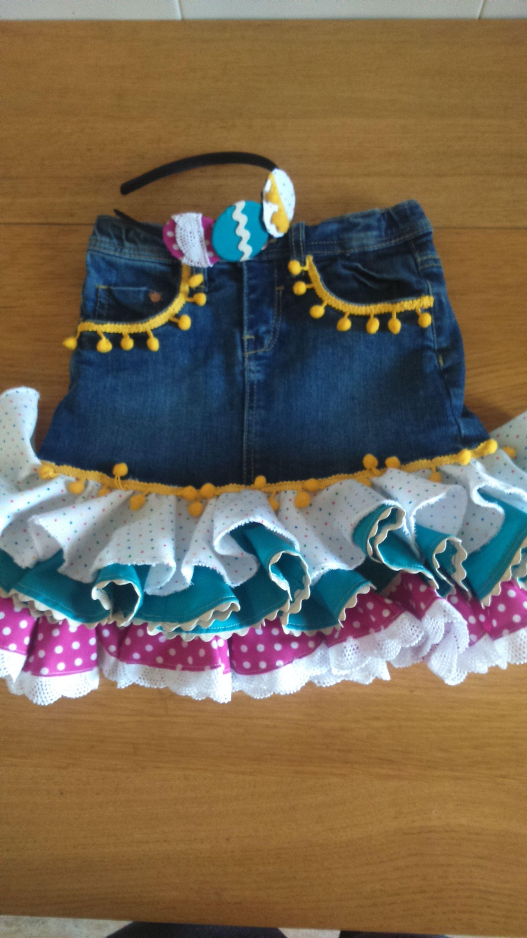 Falda flamenca desde falda vaquera  14e2acad6208