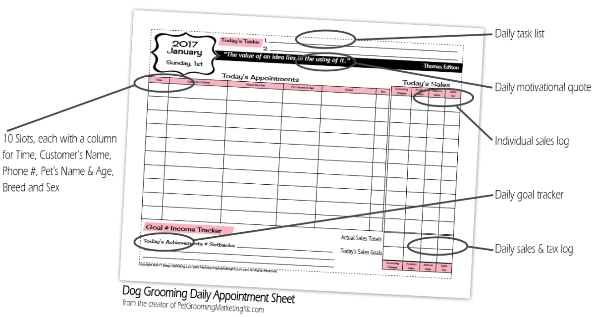 This Extraordinary Groomer S Appointment Book Combines Your Grooming Appointment Book Marketing Plan Book Template Pet Grooming Business Spreadsheet Template