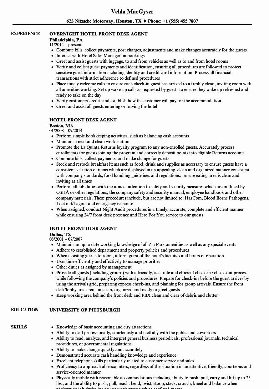 Hotel Front Desk Job Description Resume New Hotel Front