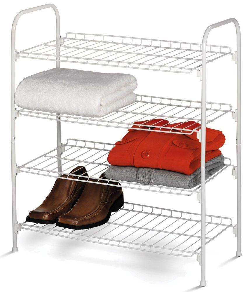 4-Tier Closet Shelf Wire Shelves Shoe Rack Bath Bedroom