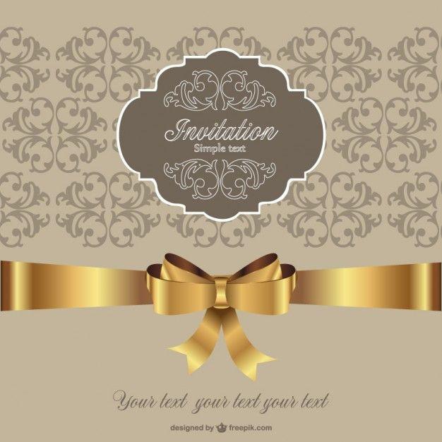 Invitation golden ribbon retro style Çerçeveler Pinterest - fresh invitation letter format denmark visa