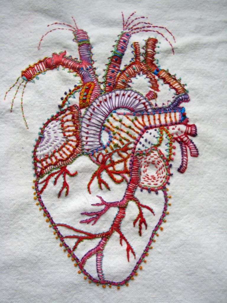Heart hand embroidery detailed design handmade crafts