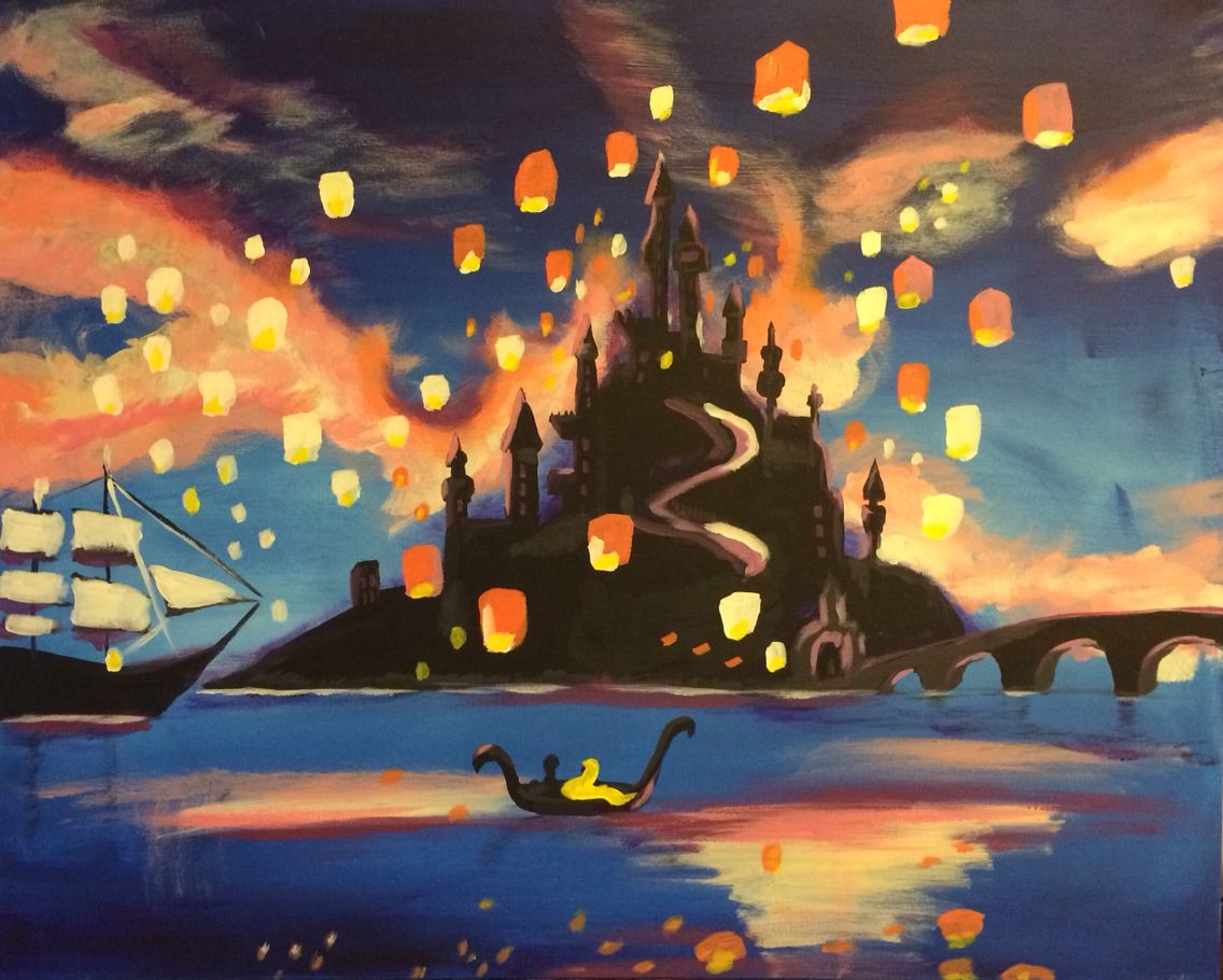 Rapunzel Lanterns Scene From Tangled Painted By Me For My Daughter Tangled Lanterns Scene Tangled Painting Disney Canvas Paintings