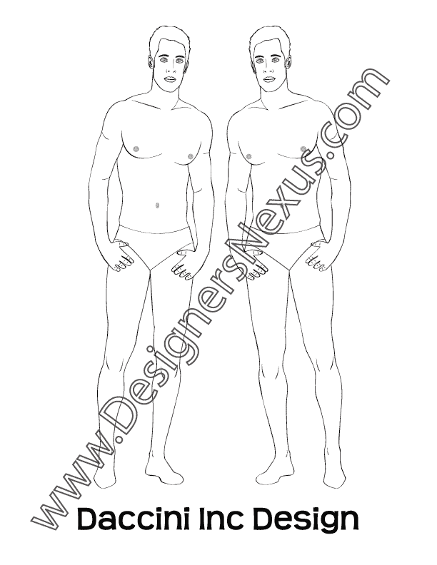 Male Fashion Croqui Template V9 Front Pose Hands on Hips