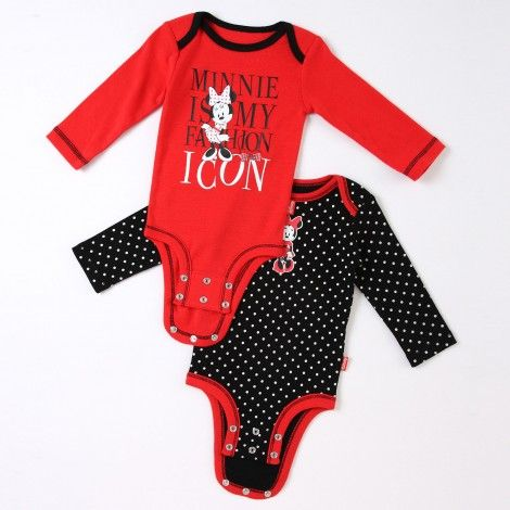 """Disney Cuddly Bodysuit™ with Grow-An-Inch-Snaps™ MINNIE MOUSE """"Must-Have Accessory"""" 2-Pack #baby"""