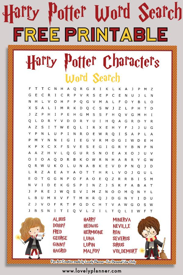 Free printable Harry Potter Characters word search puzzle  solution sheet Use it as a Harry Potter party activity party favor or for your own enjoyment Also get the HP ma...
