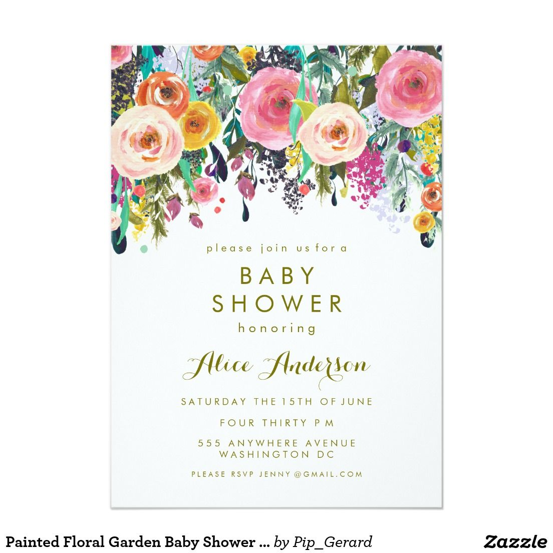 Painted floral garden baby shower invite artwork designed by pip explore zazzle invitations and more painted floral garden baby shower filmwisefo Images