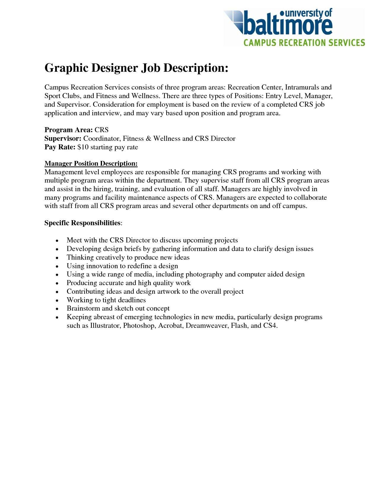 Graphic Designer Job Description Resume Free Resume Templates