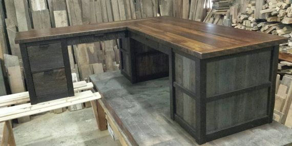 This desk is made entirely of reclaimed Montana barnwood and has a rustic industrial style to it that goes well with any decor. We salvage all our materials ourselves right here in northwest Montana from ranches and homesteads built at the turn of the century. Top is a reclaimed barnwood slab. Measures 72 long x 24 deep x 72 long x 30 tall. It has a combination of shelves and drawers that can be configured any way you need them. The drawers close on soft close heavy duty drawer glides…