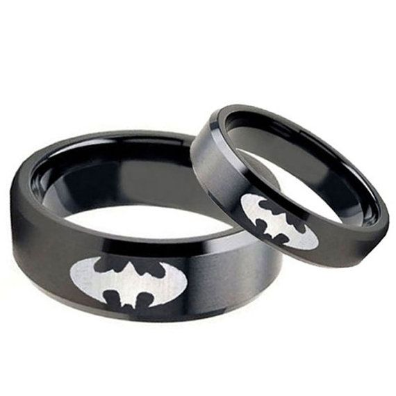 Tungsten Carbide Batman Matte Black Flat Top Engraved R Unique Engagement Rings Rose Gold White Gold Engagement Rings Unique Aquamarine Engagement Ring Vintage