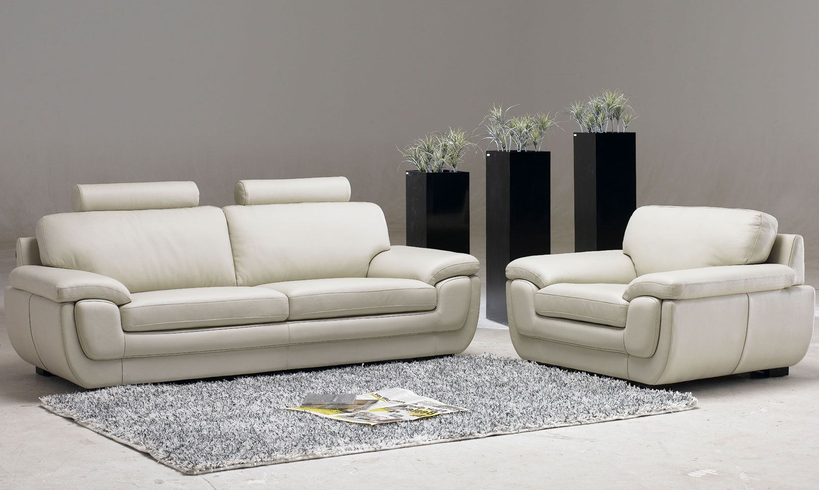 Leather Living Room Set Designed In White