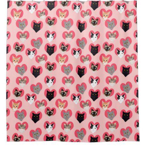Cat Love Hearts Shower Curtain