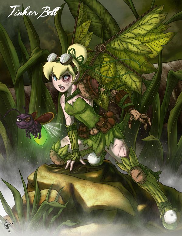 tough tinker bell-- companion to peter, tinker fairy, .....zombie hunter.