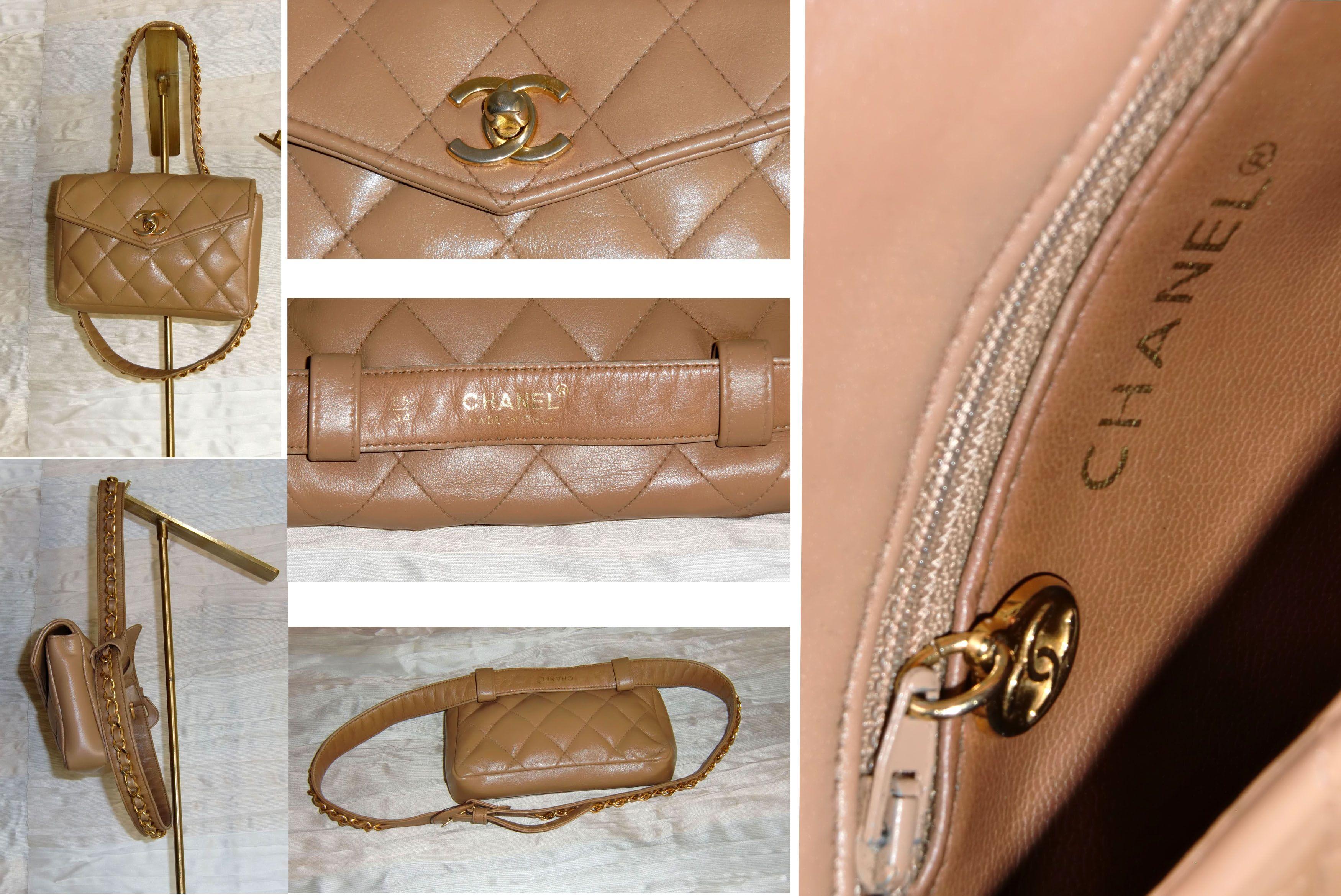 3e3788019b Marsupio CHANEL vintage in pelle color cammello matelassé, cintura con  catena e chiusura a patta con logo in metallo. Ottime condizioni.