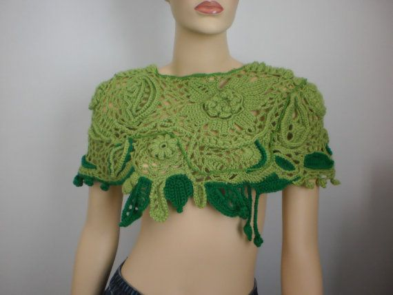 Freeform Crochet Capelet Poncho Lace от levintovich на Etsy